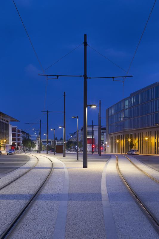 Eclairages de la ligne de tramway de Tours pour Philips Lighting