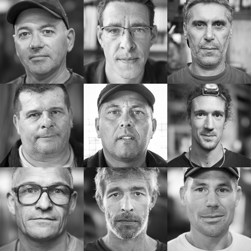 Exposition Fondu Au Noir, galerie de portraits du personnel  en activité